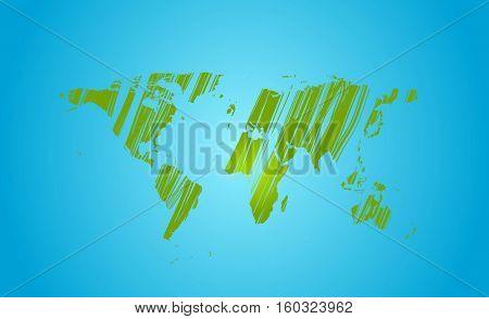 Bright green grunge world map on blue background
