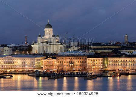 Night view to Helsinki Cathedral and Market square in Helsinki, Finland