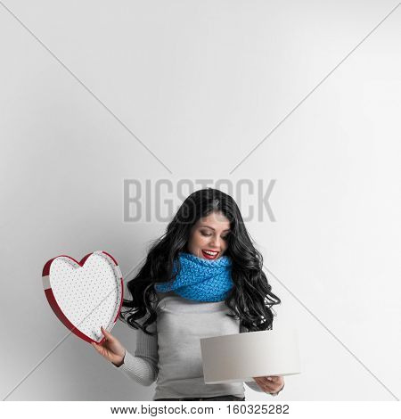 Woman open heart shaped box, Valentines day love concept