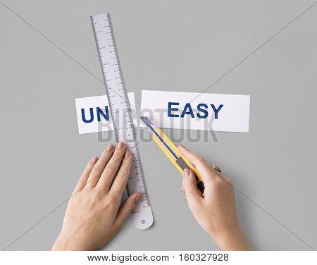 Uneasy Uncomfortable Hands Cut Split Word Concept