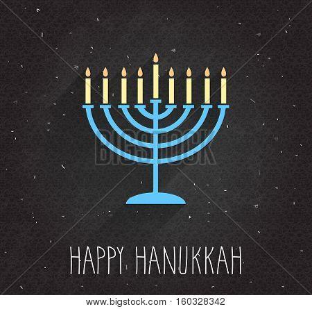 Hanukkah poster with menorah on black chalkboard. Vector illustration.