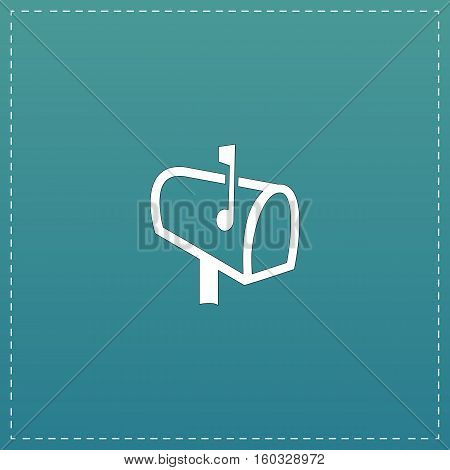 Mailbox. White flat icon with black stroke on blue background