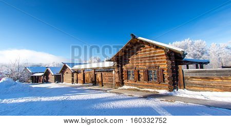 Traditional old wooden houses in Siberia, Russia