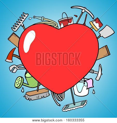 Cartoon of heart as love concept with tools