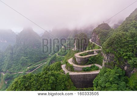 Winding And Curves Road In Tianmen Mountain National Park, Hunan Province, China