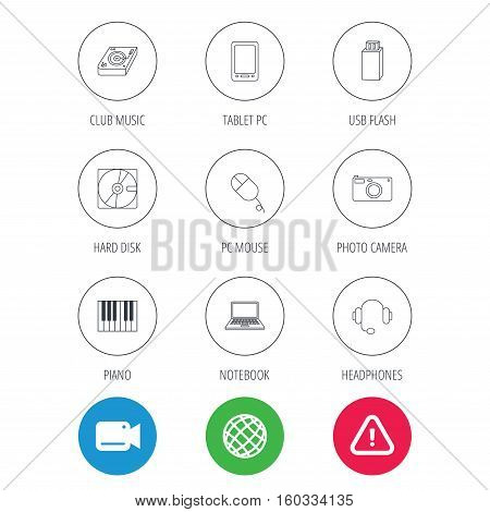 Tablet PC, USB flash and notebook laptop icons. Club music, hard disk and photo camera linear signs. Piano, headphones icons. Video cam, hazard attention and internet globe icons. Vector