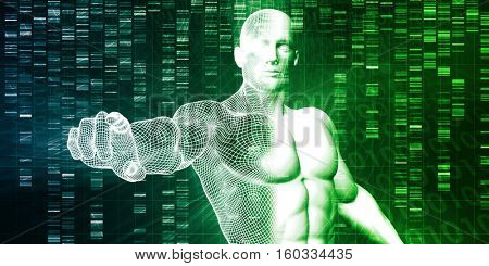 Genetic Testing and Analysis as a Abstract 3d Render