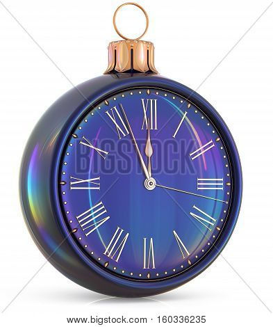 New Year's Eve clock midnight last hour countdown pressure Christmas ball decoration ornament black sparkly adornment bauble. Seasonal happy wintertime holidays beginning future time. 3d illustration