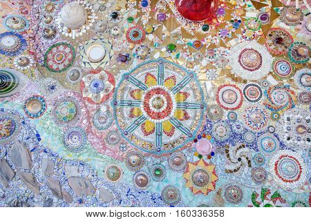 Ceramic Glass Wall Background At Wat Phra That Pha Son Kaew. Temple In Khao Koh, Thailand