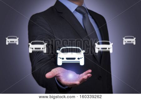 Business Person Touching Car Insurance Button on Visual Screen