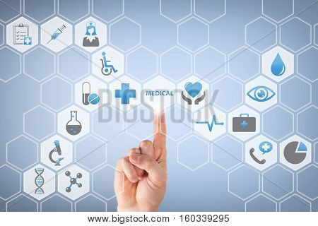 Doctor Touch Screen with Stethoscope on Medical Icons