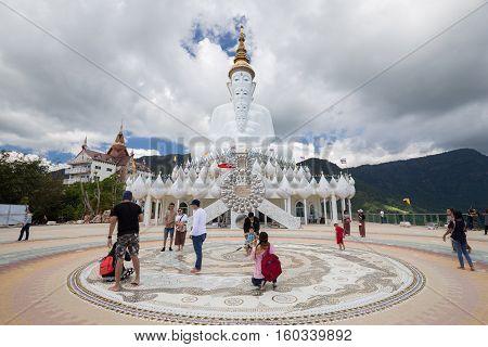 PHETCHABUN THAILAND - November 14 2016 :The tourist visiting A Big Buddha statue at Wat Phra Thart Pha Son Kaew. buddhist monastery and temple in Khao Kho Phetchabun Thailand