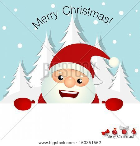 Christmas Greeting Card with Christmas Santa Claus. Vector illustration