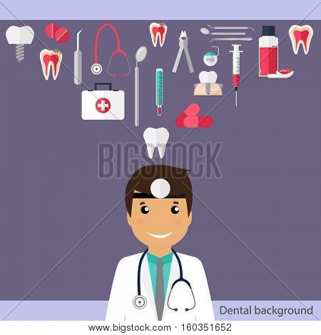 Medical dental background. Dentist with teeth, drugs, dentist tools and instruments. Vector illustration.
