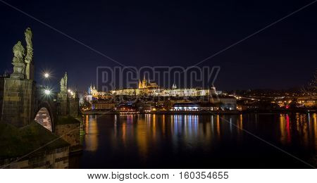 Cathedral Of St. Vitus, Prague Castle And The Vltava In Night