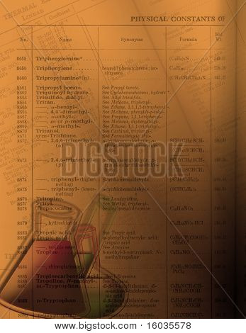 Una imagen tono cálida con productos químicos en frascos y tubos de ensayo