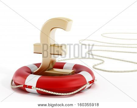 Golden pound symbol on lifebelt. 3D illustration.