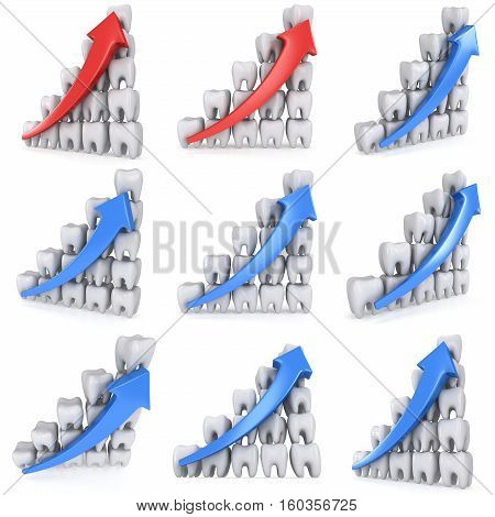 3d teeth bar graph with blue arrow isolated on white background. Render set. Dental medicine health grow chart business statistic concept.