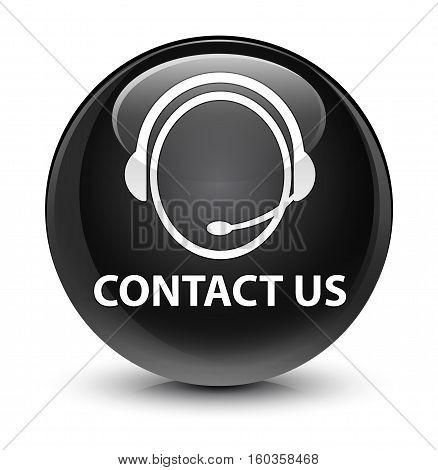 Contact Us (customer Care Icon) Glassy Black Round Button