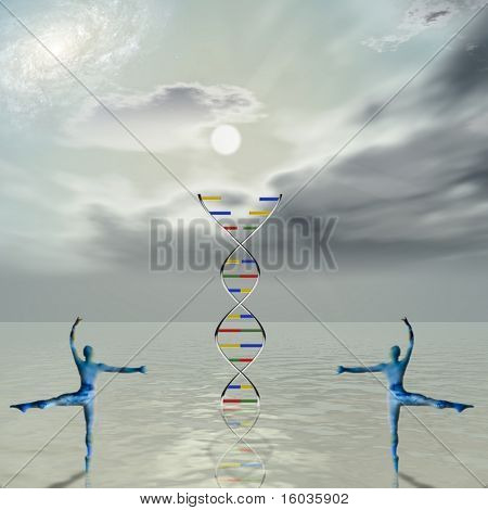 The dance of life Two figures dance around a strand of dna