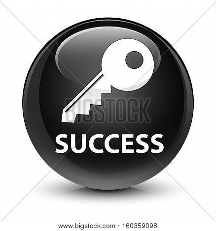 Success (key Icon) Glassy Black Round Button