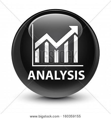 Analysis (statistics Icon) Glassy Black Round Button