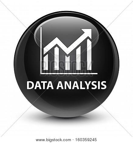 Data Analysis (statistics Icon) Glassy Black Round Button