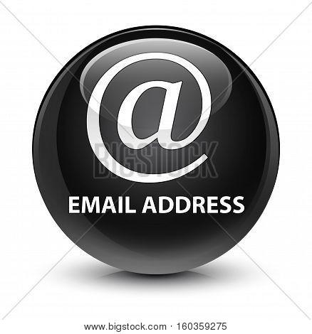 Email Address Glassy Black Round Button