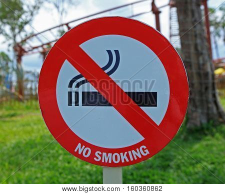 No smoking sign outdoor in a park