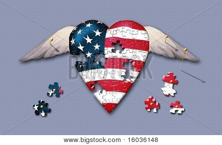 FREEDOM: A specimen of winged US flag heart is pinned to a surface while it's removed puzzle pieces lay pinned nearby