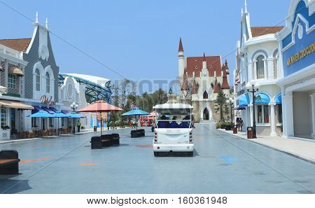 Phu Quoc, Vietnam - Apr 5, 2015: View of Vinpearl Phu Quoc resort, a project by Vingroup corporation, in Phu Quoc island. Phu Quoc is one of the world's most beautiful beaches