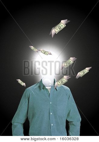 Idea man attracts wealth A figure with a glowing bulb for a head stands while winged money flies around him