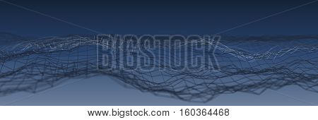 a dark blue 3D Abstract grid Technology Background