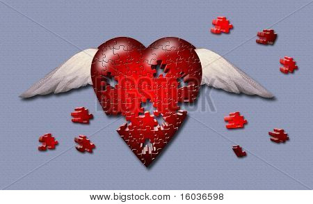 Puzzle piece winged heart