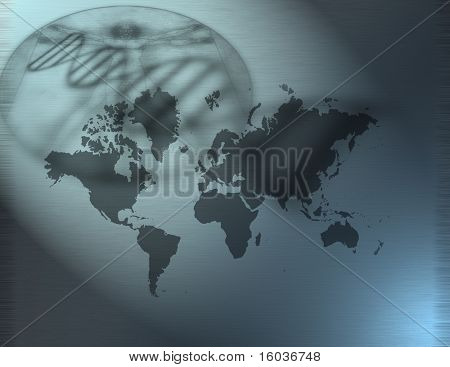 The World, DNA, and Davinci like figure
