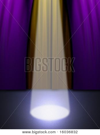 A spotlight on an empty stage