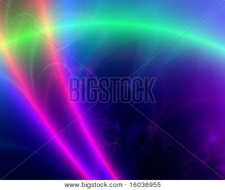 Laser like beams across a colorful background