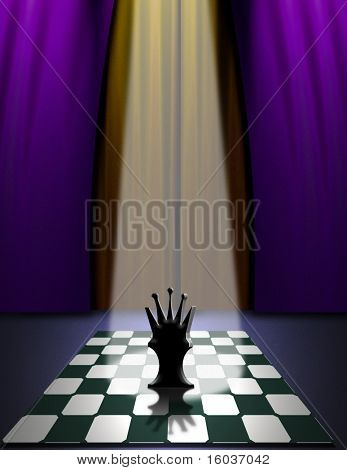 And the winner is.... Queen chess piece in spotlight on stage