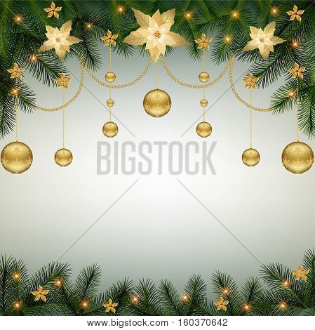 Christmas background with fir branch border Poinsettia flowers and decorative elements.Christmas border