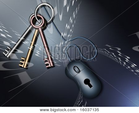 Binary code, keys and a computer mouse