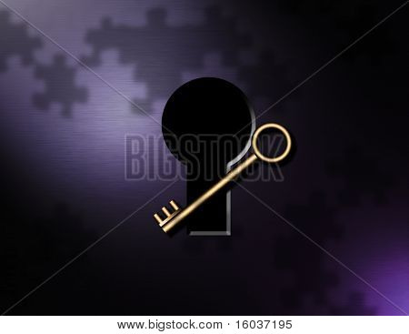 Key, puzzle pieces, keyhole
