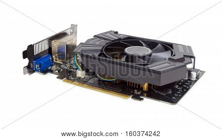 Graphics card equipped with heat sink with fan on a light background
