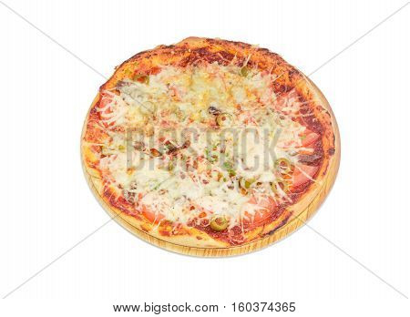 Cooked round pizza with chicken tomatoes and olives on a cardboard placemat on a light background