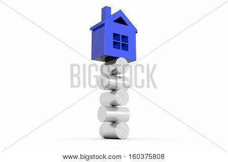 house balance on white background 3D illustration