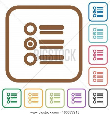 Radio group simple icons in color rounded square frames on white background