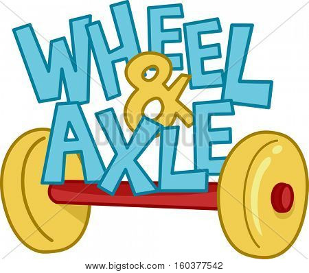 Typography Illustration Featuring the Phrase Wheel and Axle Sitting on Top of an Axle