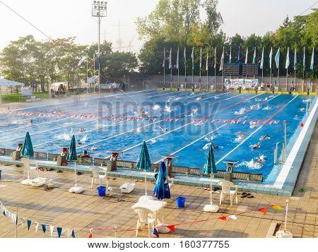VARNA, BULGARIA - OCTOBER 01, 2016: Swimmers in the swimming pool. Varna, Bulgaria