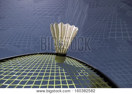 Closeup abstract arrangement of shuttlecock and racket