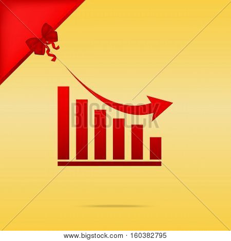 Declining Graph Sign. Cristmas Design Red Icon On Gold Backgroun