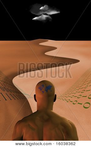 Man in desert hearing binary code